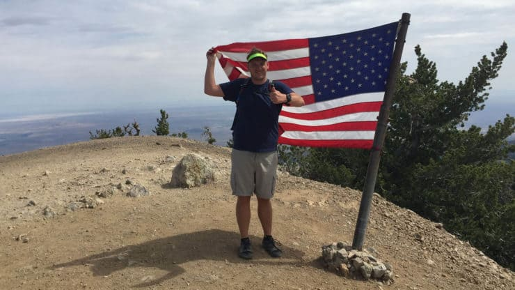 American flag on Mount Baden-Powell Hike