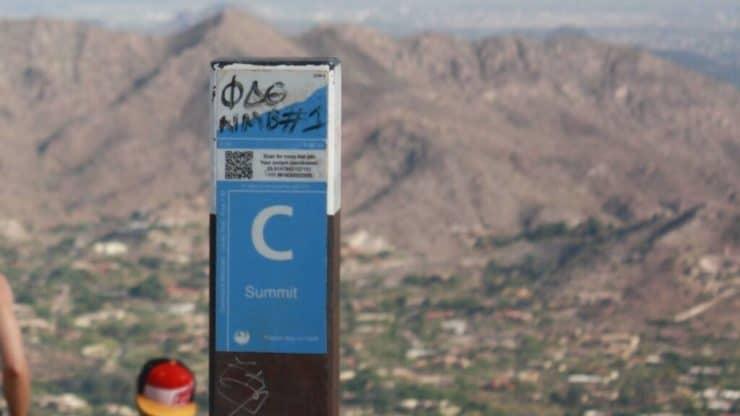 Cholla Trail summit marker