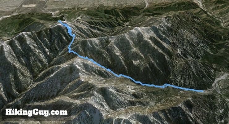 Cucamonga Peak Hike 3d map