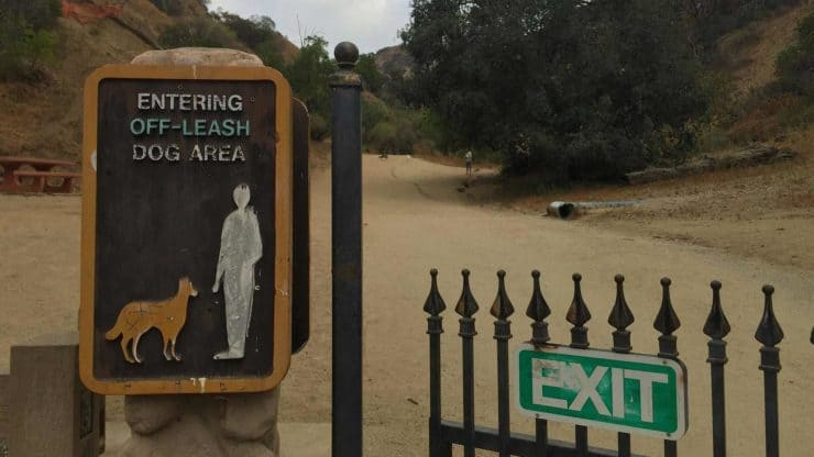 Dog friendly sign in Runyon Canyon Park