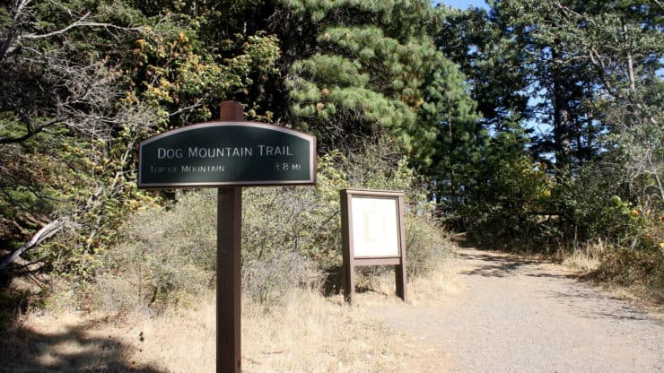 Dog Mountain Trail sign