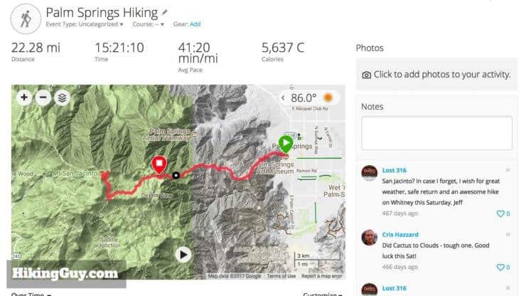Fenix 5x Hike Recap Map