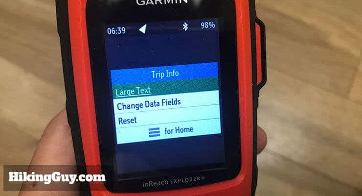 garmin inreach review trip info