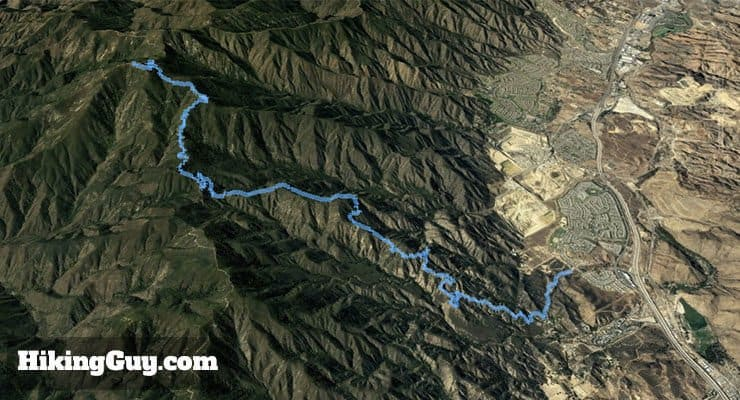 Hike Indian Truck Trail to Santiago Peak 3d map