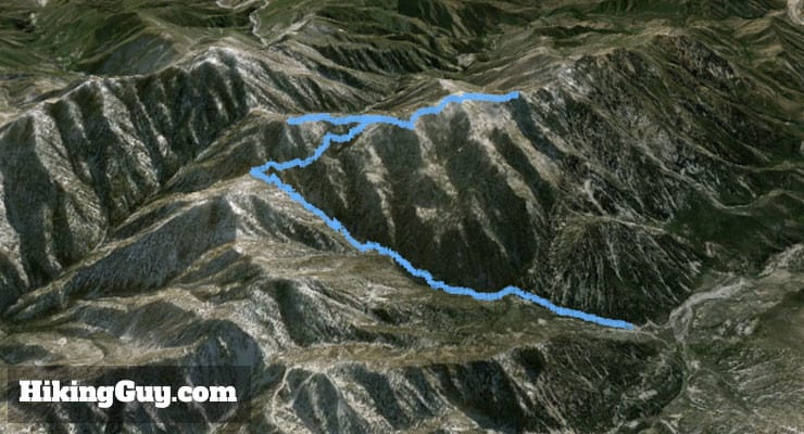 Hike Ontario Peak and Bighorn Peak 3d map