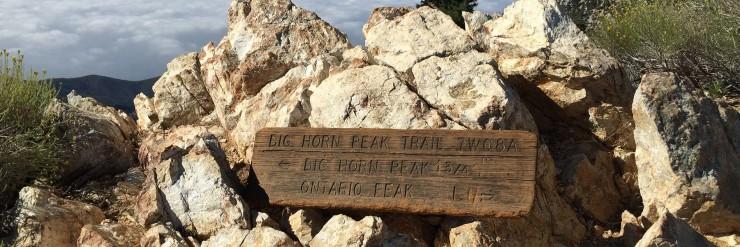 Hike Ontario Peak and Bighorn Peak sign