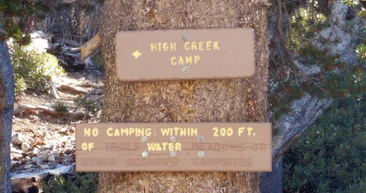 Hioh Creek Camp Sign