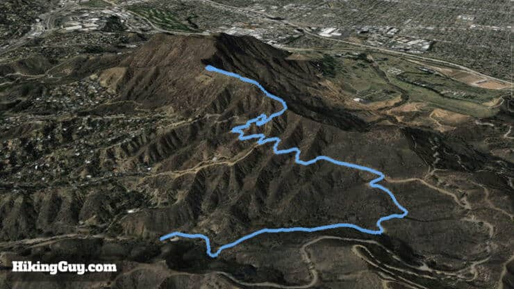 hollywood sign hike 3d map