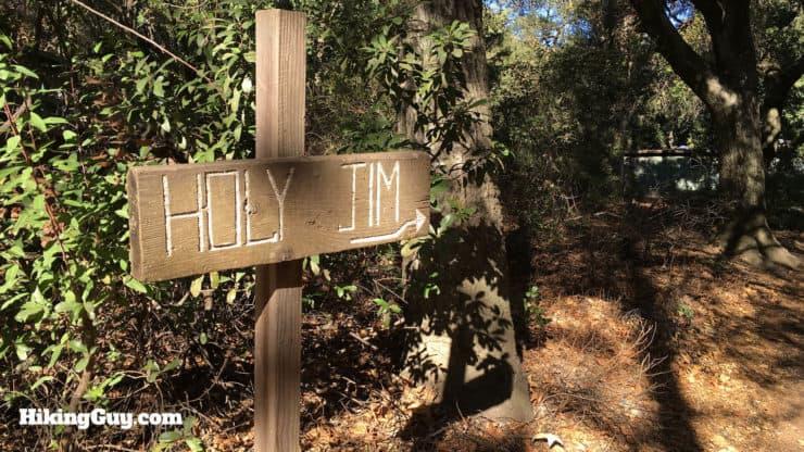 holy jim falls trail sign