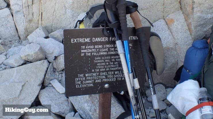 lightning warning on mt whitney hike