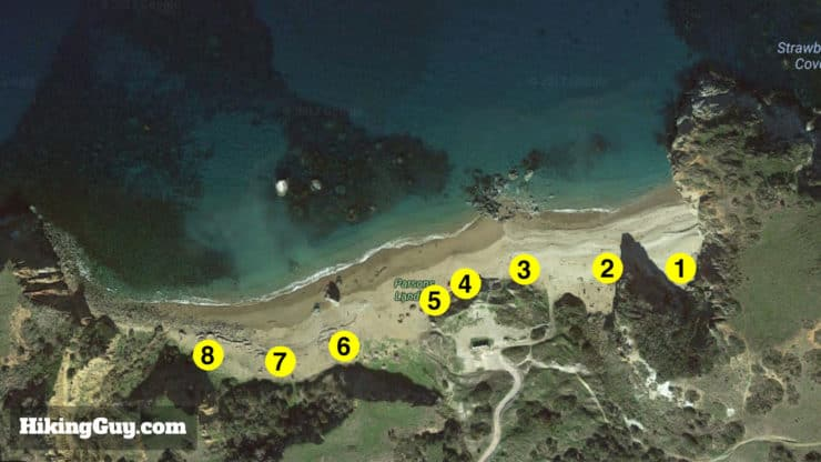 Parsons Landing campsite map