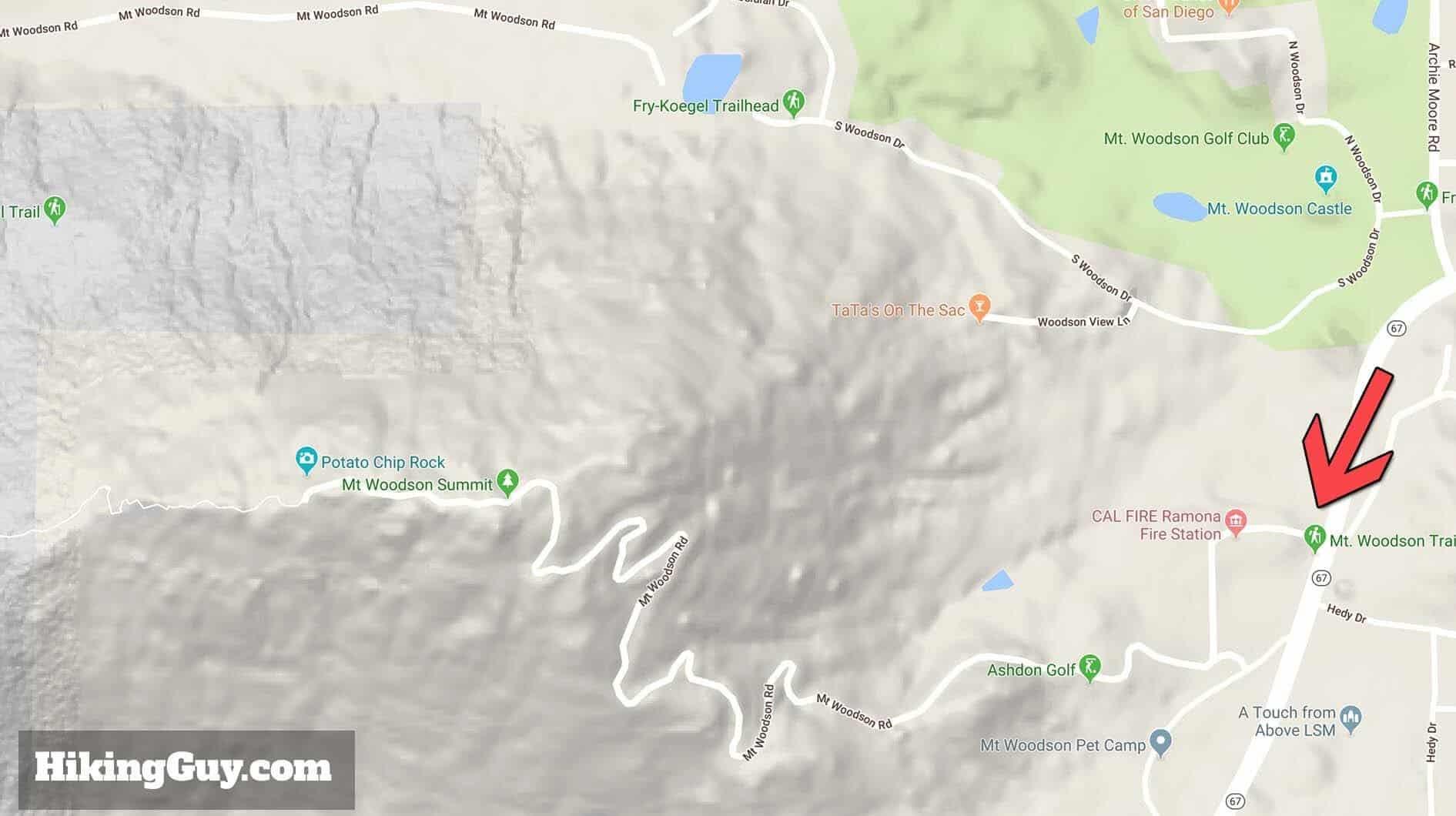 mt woodson short hike map