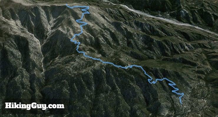 San Bernardino Peak Hike 3d map