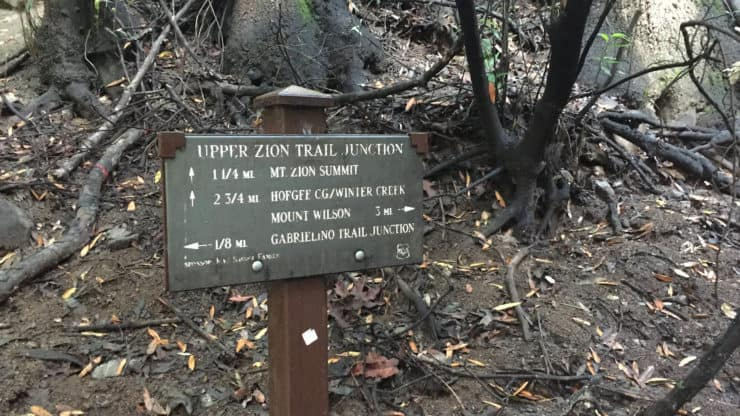 sign at the Upper Zion Trail Junction