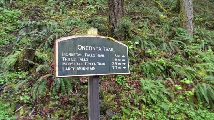 Triple Falls Hike sign
