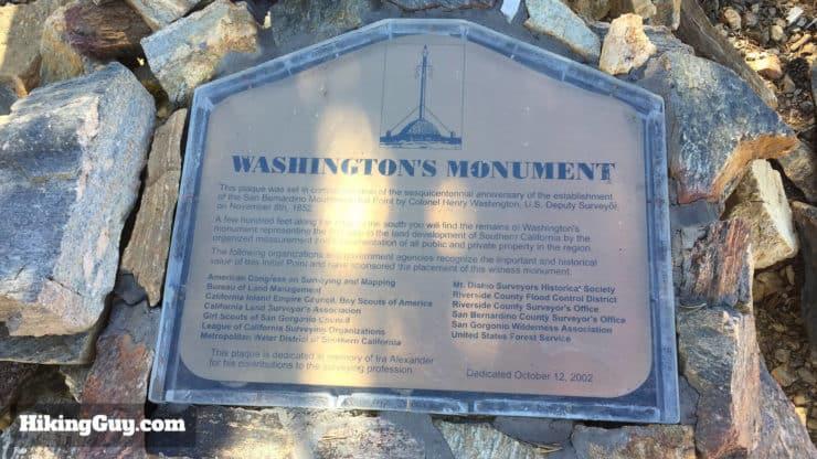 Washington's Monument sign