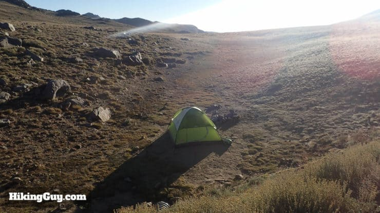 white mountain peak hike tent