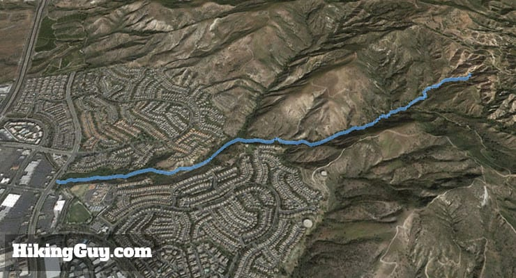 Whiting Ranch Hiking: Red Rock Canyon 3d map